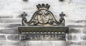 Old coat of arms at the castle. Old coat of arms at the castle in Scotland Stock Image