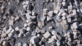 Old cobble stone - background. Old cobble stone in heap with grit Stock Images