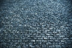 Old cobble stone road surface background texture black and white Royalty Free Stock Photos