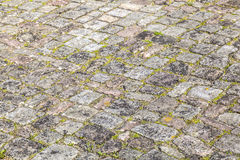 Old cobble stone street with moss Stock Photo