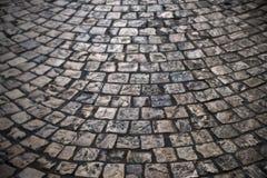 Old cobble stone street vintage background texture semi circle Royalty Free Stock Photos