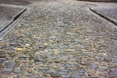 Old cobbled road in Lviv, Ukraine Stock Photo