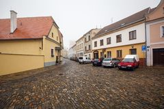 Old cobbled square in the historical downtown. Znojmo, Czech Republic. royalty free stock photography