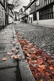 Old cobbled street black and white Royalty Free Stock Photography