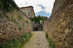 Old cobbled street in Carcassonne. A medieval city in southern France Royalty Free Stock Photo