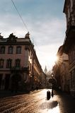 Old cobbled street with tram tracks in the downtown of Lviv Royalty Free Stock Photography