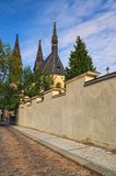 Old cobbles road the Church of Saint Peter and Paul. Summer landscape photo on a sunny morning. Vysehrad `Upper Castle. Prague, Czech Republic stock images