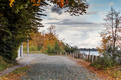 Old cobblestone road at early autumn Stock Image
