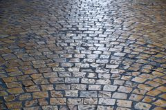 Old cobblestone street background texture backlit Stock Image