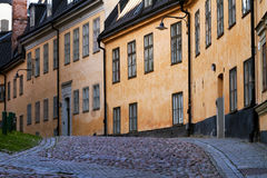 Old cobblestone street in stockholm. Royalty Free Stock Photography