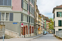 Old cobblestone street in Zurich Royalty Free Stock Images