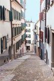 Old cobblestone street in Zurich, Switzerland royalty free stock image
