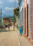 Old cobblestones street in the historical center of Trinidad Royalty Free Stock Photography