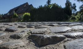 Old cobblestones worn smooth through the years Stock Photo