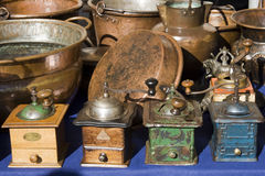 Old coffee grinder. Antique and traditional Market of Lucca, Italy Stock Image
