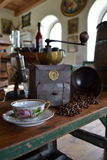 Old coffee grinder. Old antique coffee grinder with coffee beans and cup Royalty Free Stock Images