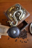 Old coffee grinder. Coffee beans Stock Photography