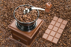 Old coffee grinder and Chocolate Stock Photo