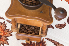 Old coffee grinder (coffee mill) brown in color. Top view Royalty Free Stock Photography
