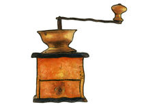 Old coffee grinder. Drawing of the old coffee grinder Stock Photography
