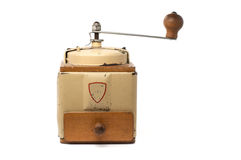 Old coffee grinder. Metal coffee grinder on white background Stock Photography