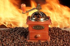 Old Coffee Grinder and Roasted Coffee Beans Stock Image