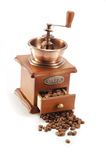 Old coffee grinder on white background Stock Photos