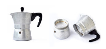 Old coffee maker. An old coffee maker made out of stainless steel Stock Images