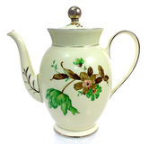 Old coffee pot. Old porcelain coffee pot. Flower-decorated Stock Photography