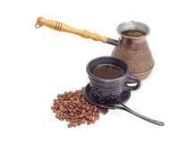 Old coffee pot, black ceramic cup with coffee, coffee beans Stock Photo