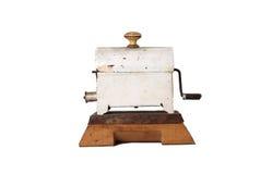 Old coffee roaster. On white background royalty free stock photos