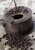 Old coffee roaster on wooden table. Close up Stock Images