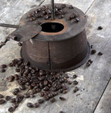 Old coffee roaster on wooden table. Close up Stock Photo
