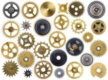 Old Cogs Isolated. Different old clock cogs isolated on a white background Royalty Free Stock Images