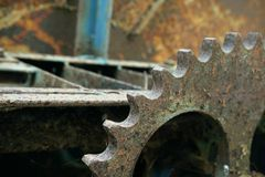 The old cogs lose the rust. A The old cogs lose the rust royalty free stock photo