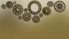 Training old cogs on a worn technology circuits machine New future concept background for business solution metal gold. Old cogs on a worn training background royalty free stock photos