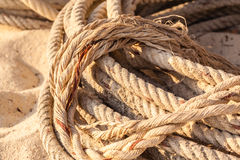 Old coiled rope. An old coiled rope on the sand of a tropical beach Royalty Free Stock Photos