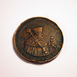 Old coin 1. Very old copper coin - front side stock image