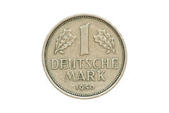 Old Coin 1950 One Deutschemark. Old coin - front side of One Deutschemark produced in 1950. (isolated and clipping path royalty free stock photography