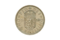 Old Coin 1958 One Shilling. Old coin - back side of One Shilling produced in 1958. (isolated and clipping path stock images