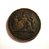 Old coin 2. Very old copper coin - back side stock photos