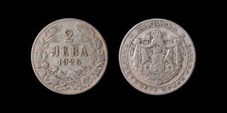 Old coin of 2 levs. 1925. Royalty Free Stock Images