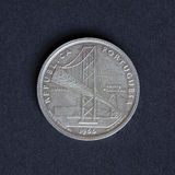 Old coin. Ancient coin 20 shields Portugal bridge salazar 1966 in silver royalty free stock photography