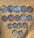Old coin collection of India. Ancient times coin collected in India Royalty Free Stock Photos