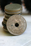 Old coin denmark. Pic of old coins.close up Royalty Free Stock Photo