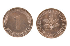 Old coin of Germany one pfenning. Stock Photo