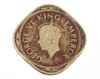 Old Coin. Indian Vintage Old coin isolated on white Stock Image
