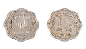 Old Coin. Indian Vintage Old coin isolated on white Stock Photo