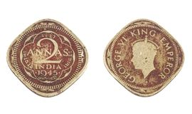 Old Coin. Indian Vintage Old coin isolated on white Stock Photography