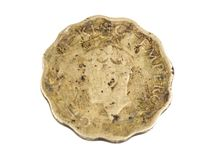 Old Coin. Indian Vintage Old coin isolated on white Royalty Free Stock Photography
